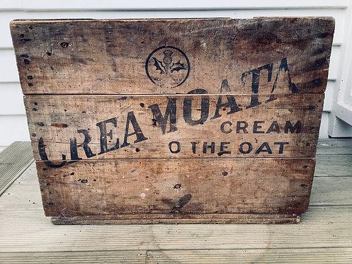 Vintage Creamota Wooden Pine Advertising Box