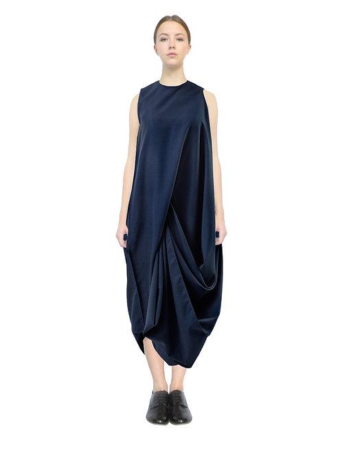 Blue Long Drape Style Unique Avantgarde Designer Dress
