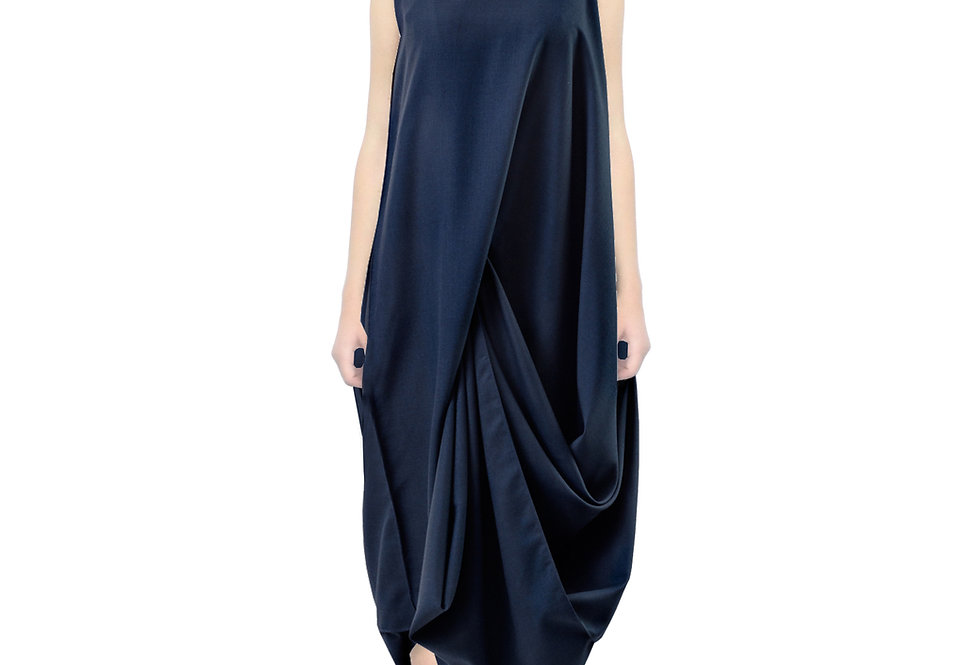 Blue Long Drape Style Unique Avantgarde Designer Dress