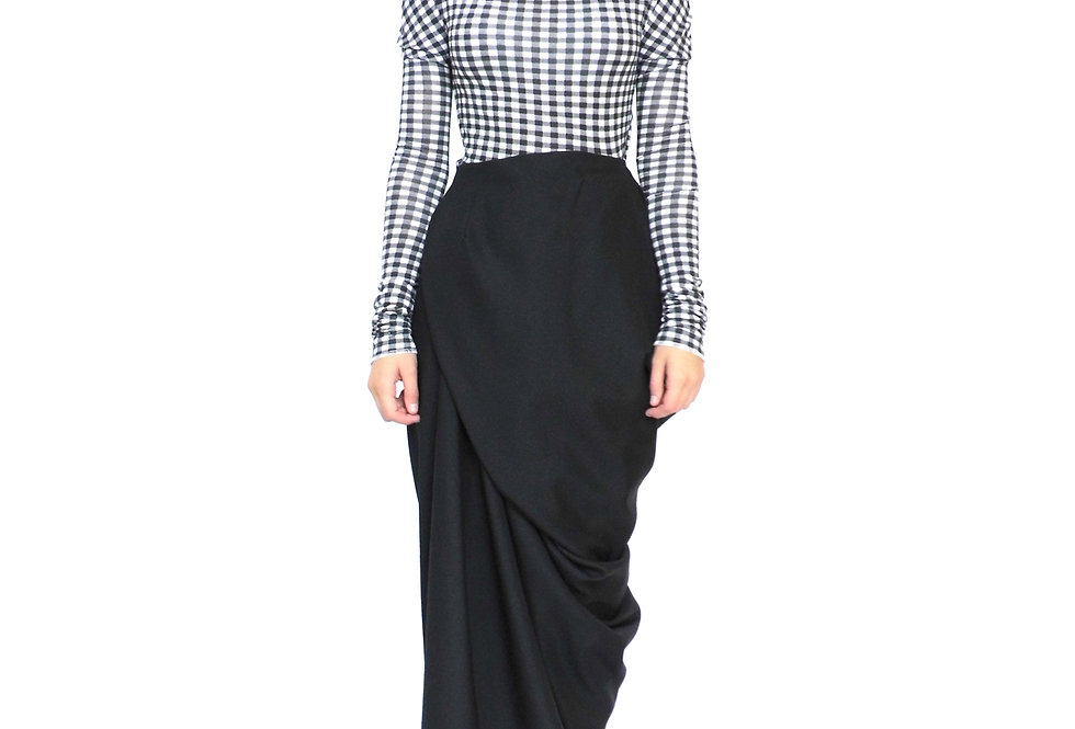 Product Shop Buy Wrap Over Long Asymmetrical Drape Ladies Contemporary Skirt Front View