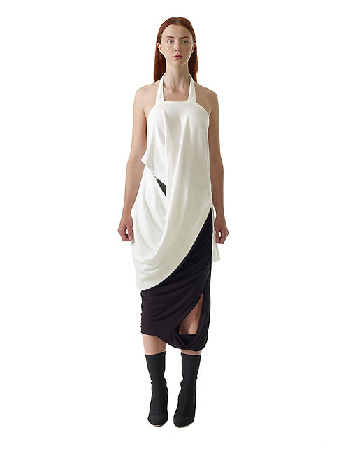 White Black Drape Organic Sustainable Top Luxury Chic Elegant Fashion Womenswear