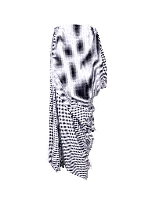 Asymmetric Gingham Cotton Wrap Drape Skirt Front View Black White Checked Elegant Silhouette Designer Luxurious Sophisticated