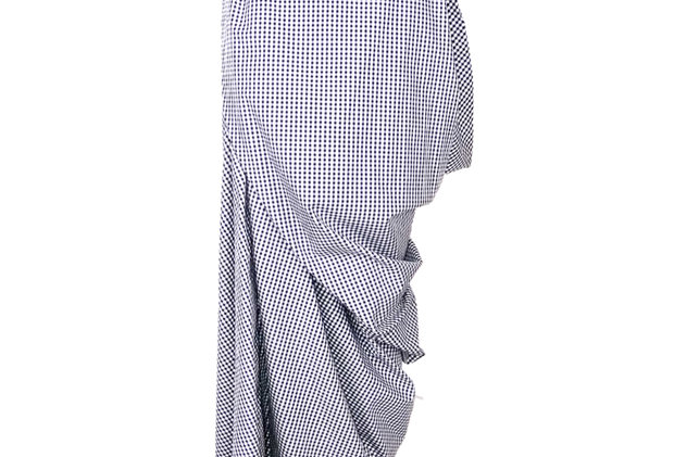 Asymmetric Gingham Cotton Wrap Drape Skirt Front View Black White Checked Elegant Silhouette Designer Luxurious Sophisticated