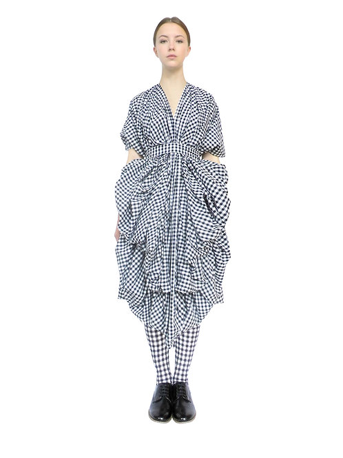 Luxury Designer Product Gift Buy Now Purchase Item Cotton Check Avantgarde Womens Drapey Modern Dress