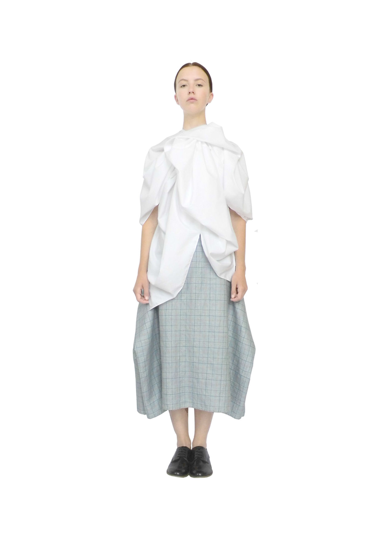 Rosette blouse & blanket skirt
