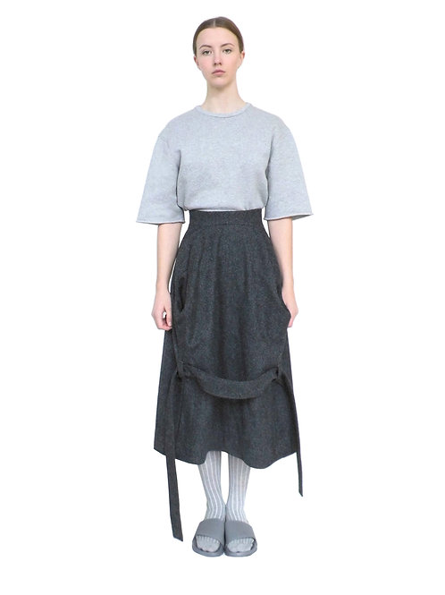 Grey Luxury Designer Contemporary Purchase Day Wool Avant Garde Pocket Skirt Front View