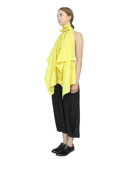 Unique Chic Womens Fashion Designer Yellow Gingham Dressy Drape Blouse