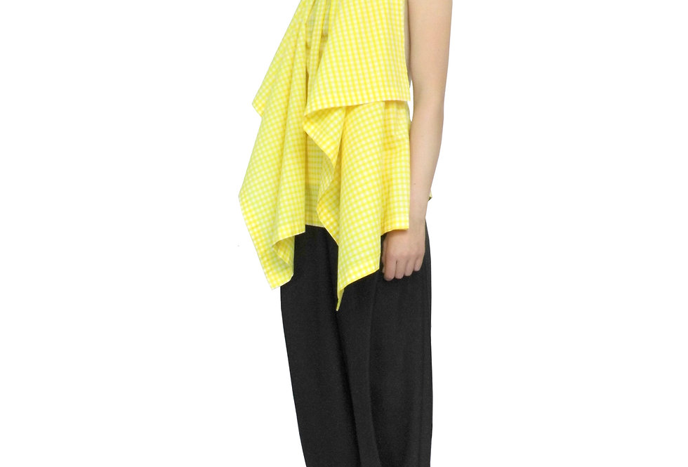 Unique Chic Womens Fashion Designer Yellow Gingham Dressy Drape Blouse
