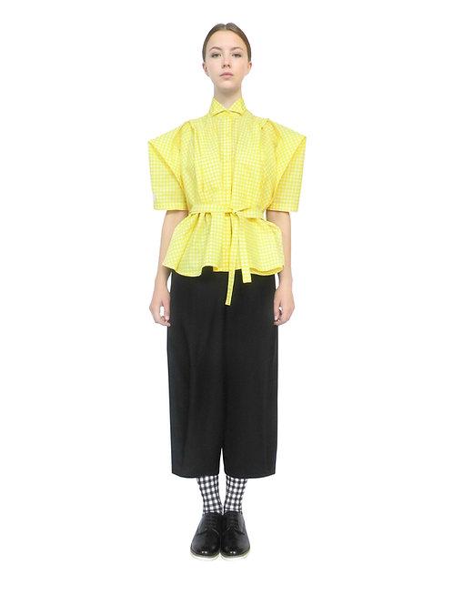 Luxury Designer Yellow Womens Boxy Silhouette Modern Elegant Stylish Unique Feminine Drape Shirt Top