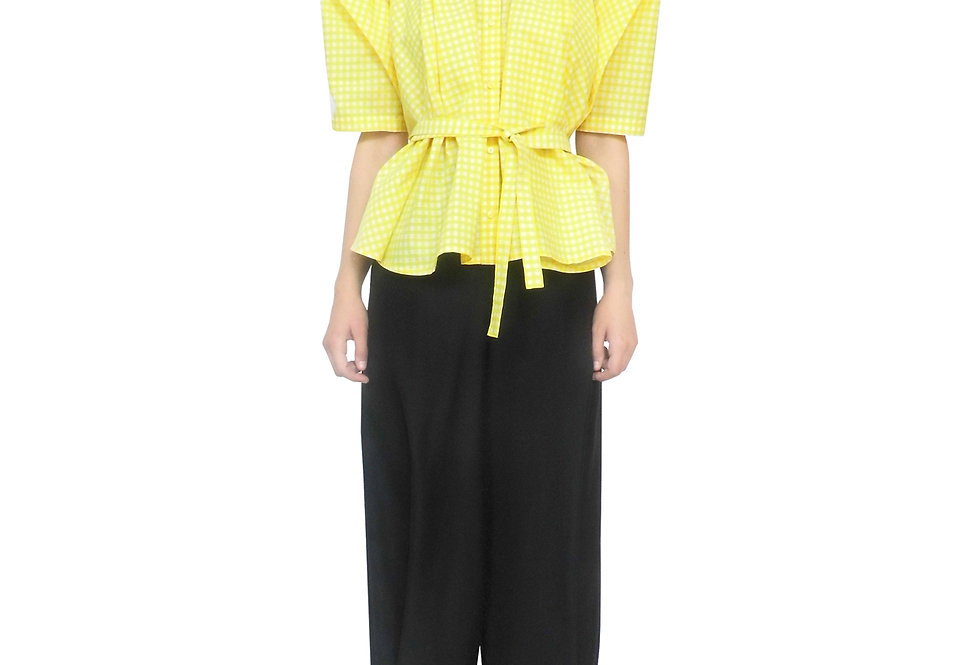 Luxury Designer Yellow Womens Boxy Silhouette Modern Elegant Stylish Unique Feminine Drape Shirt Top