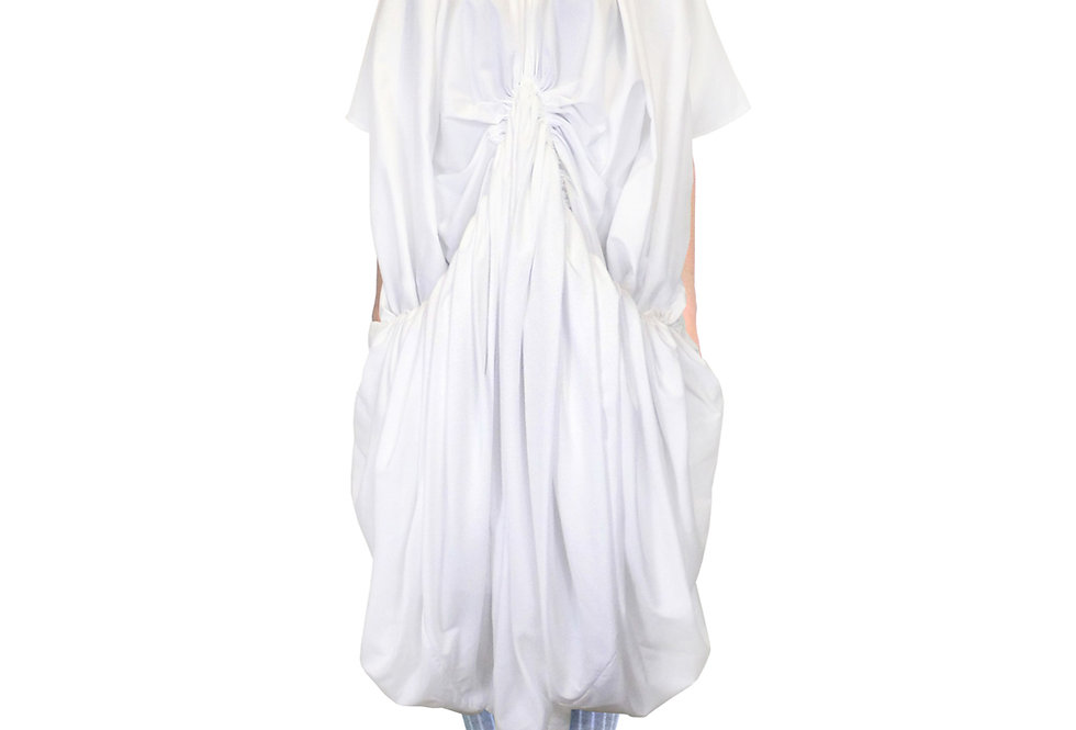 White Gathered Drape Voluminous Bespoke Luxury Designer Dress Front View