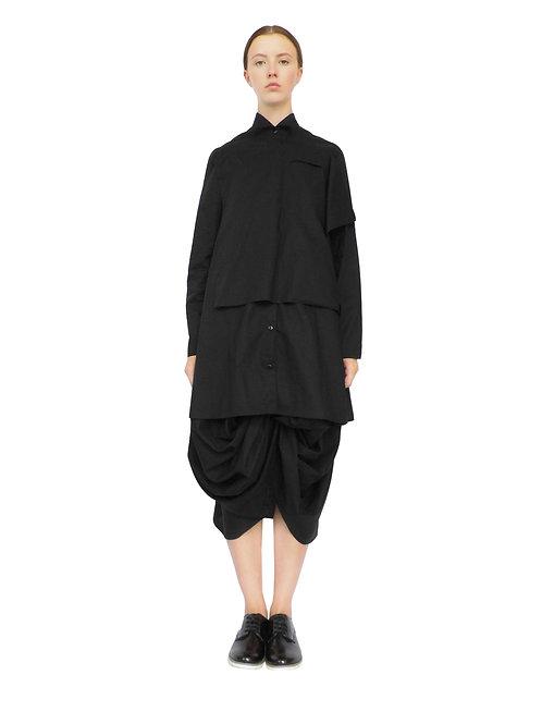 Black Shirt Front View Edgy Avant Garde Stylish Elegant Timeless Bespoke Street Buttoned Artistic Original Shirt