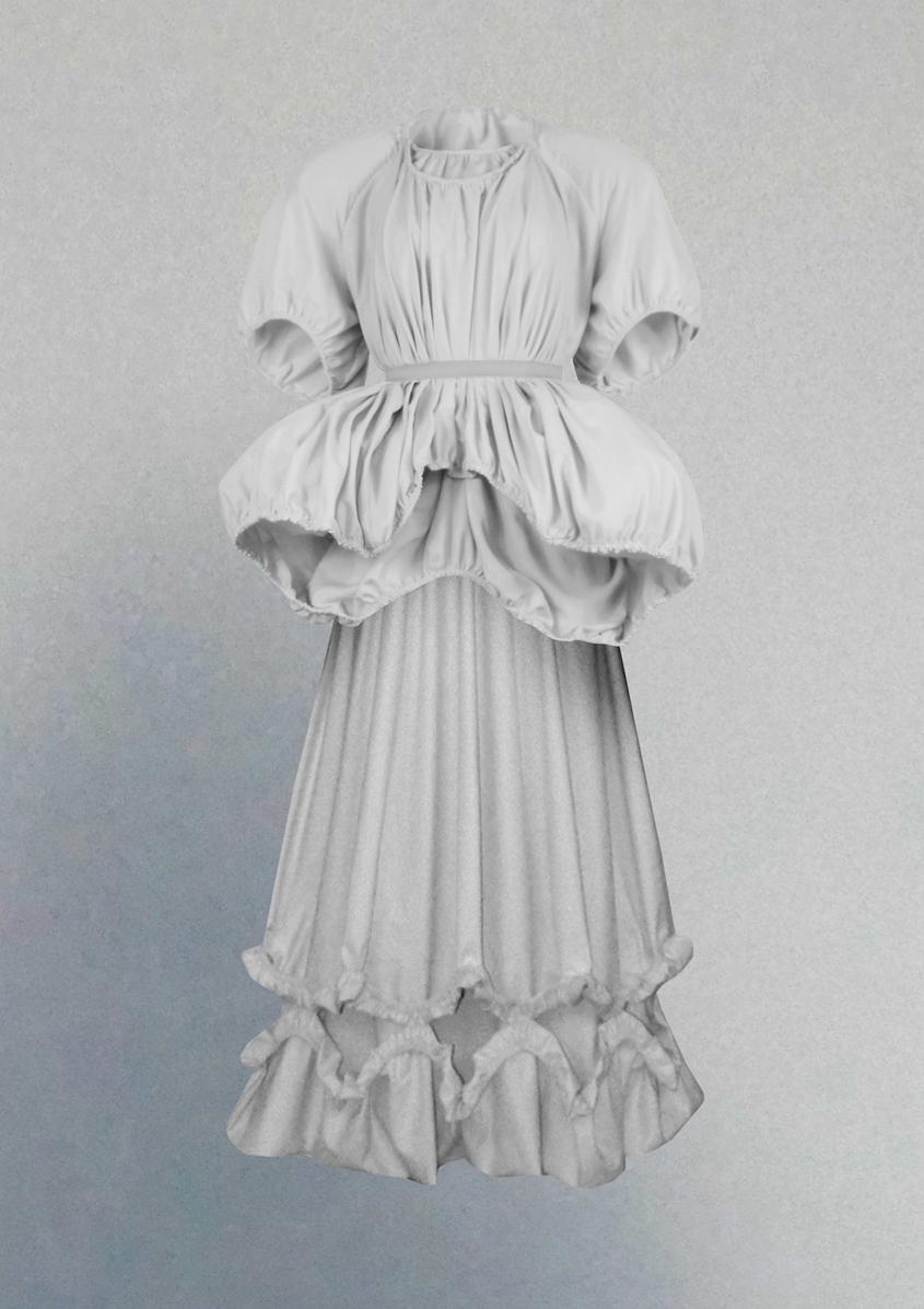 Hollow top & chandelier skirt