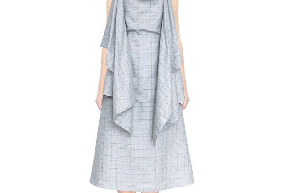 Plaid Check Blue Drape Top Backless Apron Blouse Womens Clothes