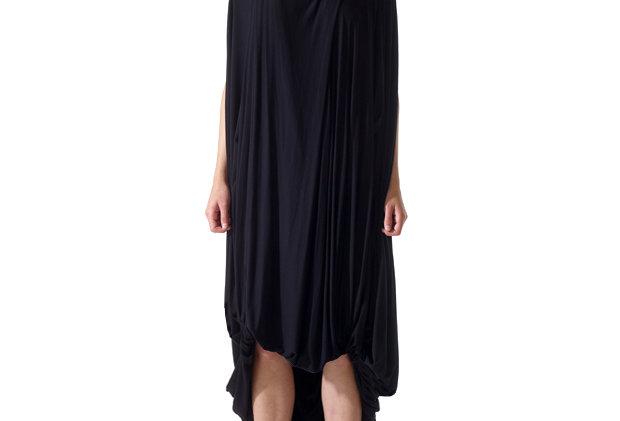 Black Dress Front Zero Waste Sustainable One Size Elegant Frock Evening Wear