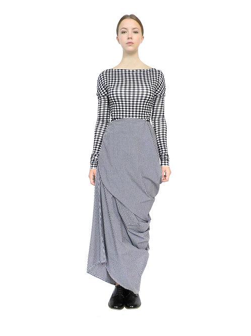 Womens Gingham Long Wrap Fashion Style Modern Design Chic Elegant Skirt Clothes