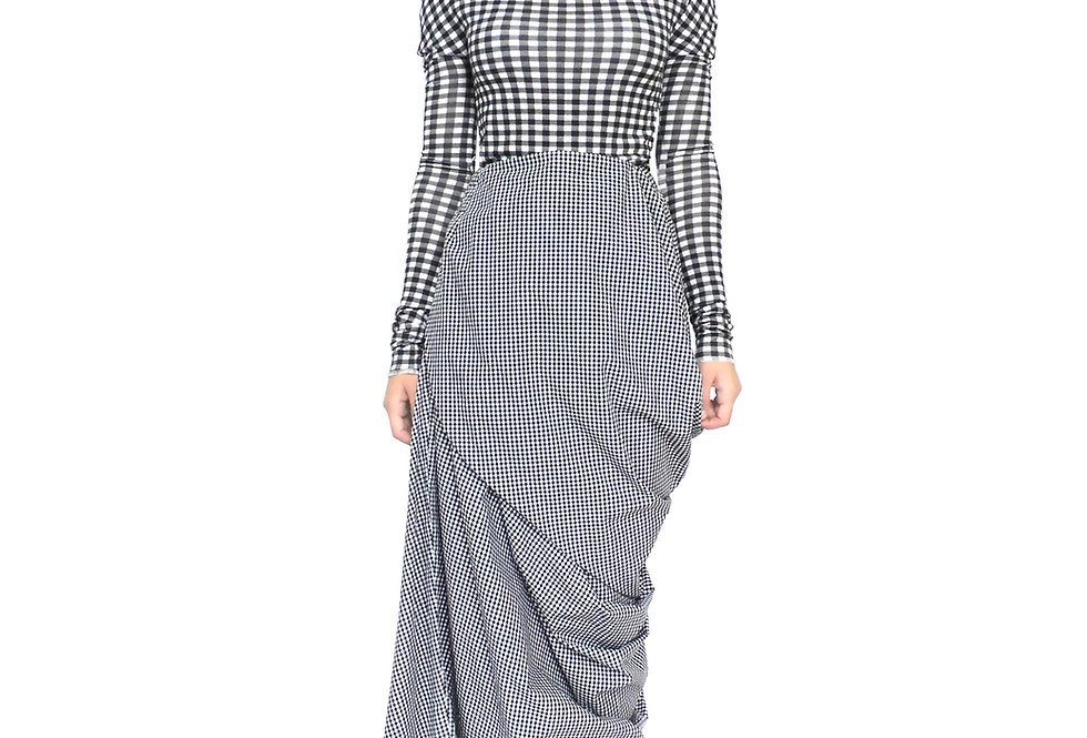 Womens Gingham Long Wrap Fashion Style Modern Design Chic Elegant Skirt Clothes