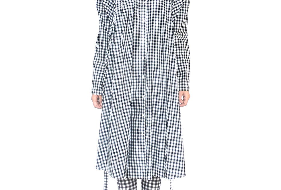 Luxury Boutique Womens Check Gingham Tailored Outfit Shirt Dress