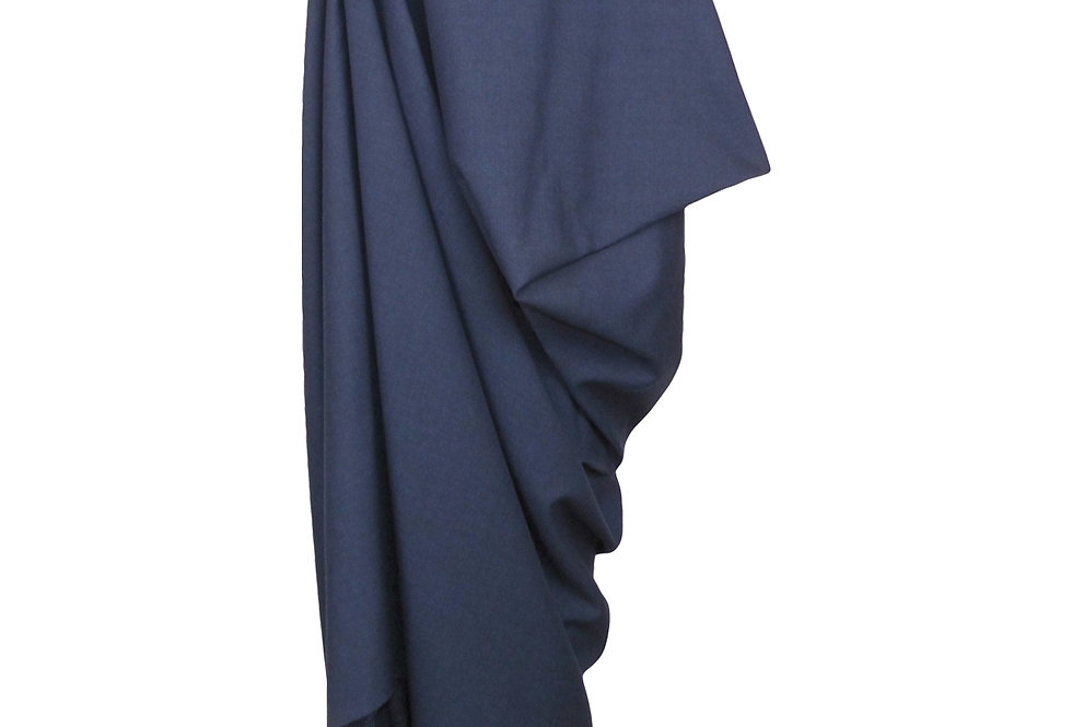 Blue Navy Drape Skirt Asymmetric Original Sculptural Edgy Craftsmanship Front View Movement Artistic Creative Elegant Luxury
