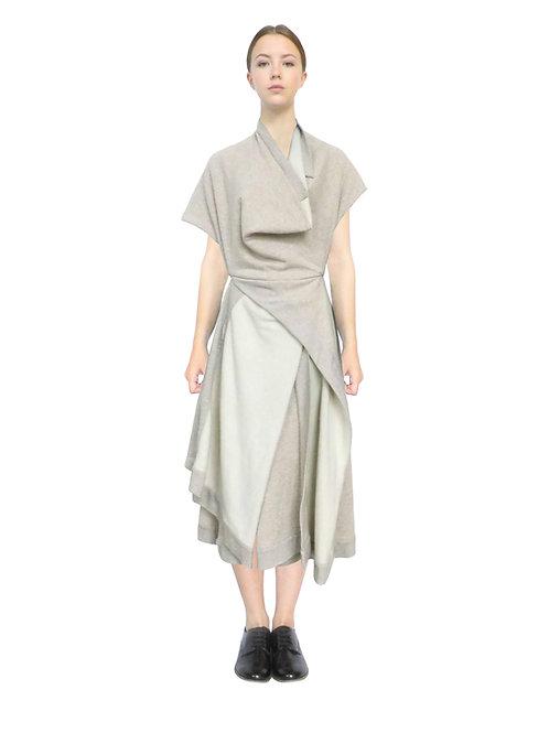 Beige Dress Front View Drape Clothing Designer Luxury Fashion British Womenswear Contemporary Style Sophisticated Elegant