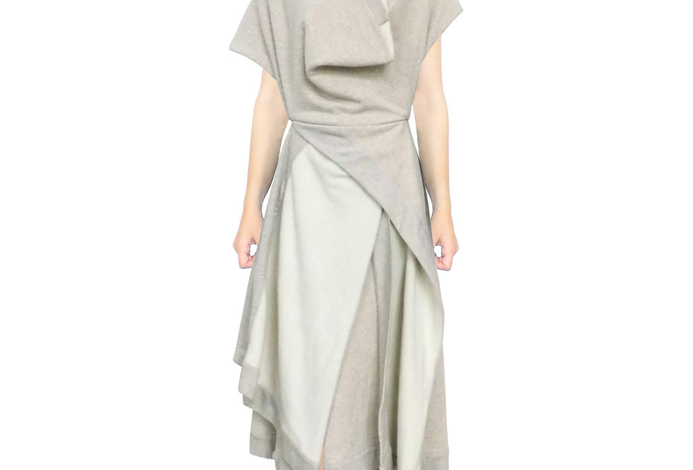 Beige Dress Front View Drape Clothing Designer Luxury Fashion British Womenswear Contemporary Style Sophisticated Elegant