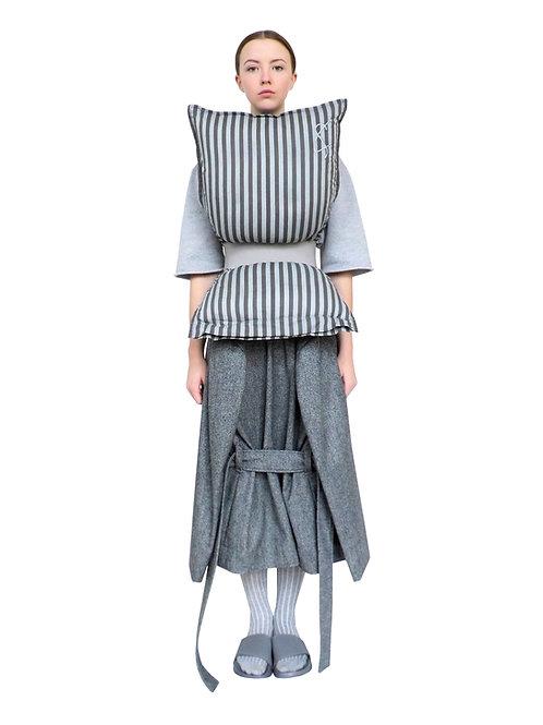 Gallery Art Design Sculptural Bespoke Cotton Belt Stripe Pillow Top Fashion Outfit Boutique Store Buy