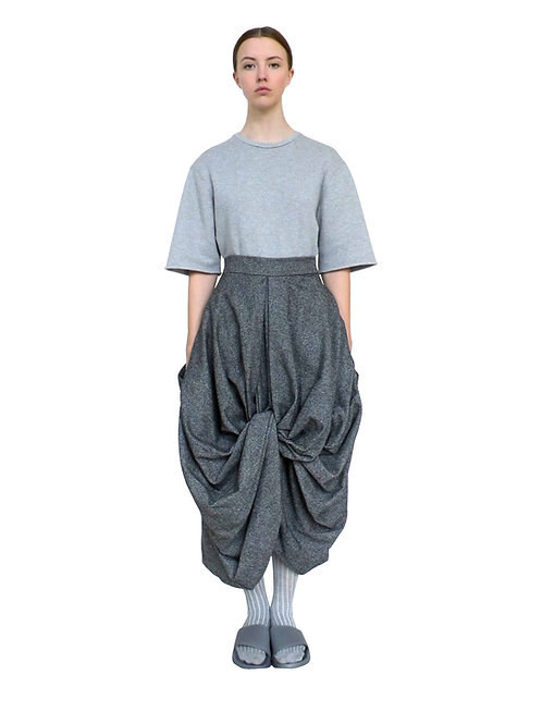 Grey Wool Women Product Fashion Drape Voluminous Modern Unique Luxurious Designer Skirt