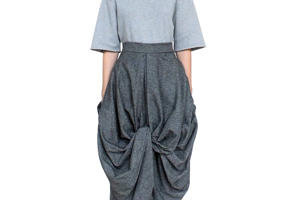 Grey Wool Women Product Fashion Drape Voluminous Modern Unique Luxurious Designer Skirt