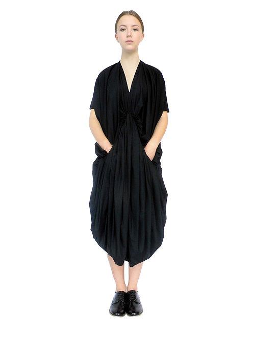 Ladies Avant Garde Bespoke Designer Elegant Black Cotton Frock Dress Front View