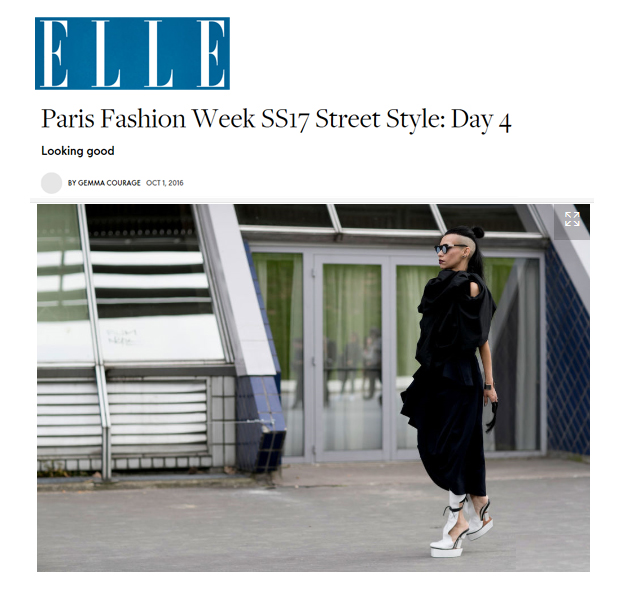 ELLE UK Lily Gatins PFW Street Style