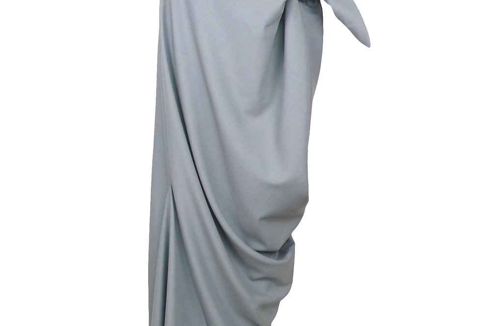 Grey Drape Knotted Buy Now Elegant Sculptural Skirt Front View Chic Luxury Designer Wear
