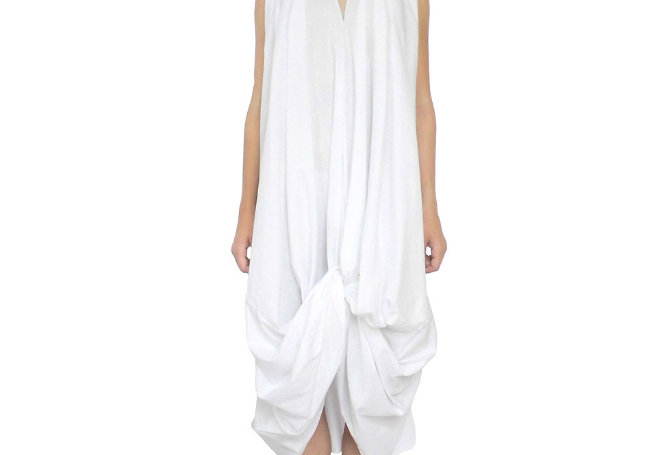 White Style Feminine Front View Fashionable Couture Design Emotive Knot Creative Evening Desirable Dress
