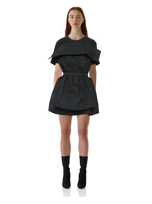 Black Pillow Dress Cotton Lux Bespoke Chic Sustainable Eco Green Slow Fashion Timeless Luxurious Quality UK Contemporary Art