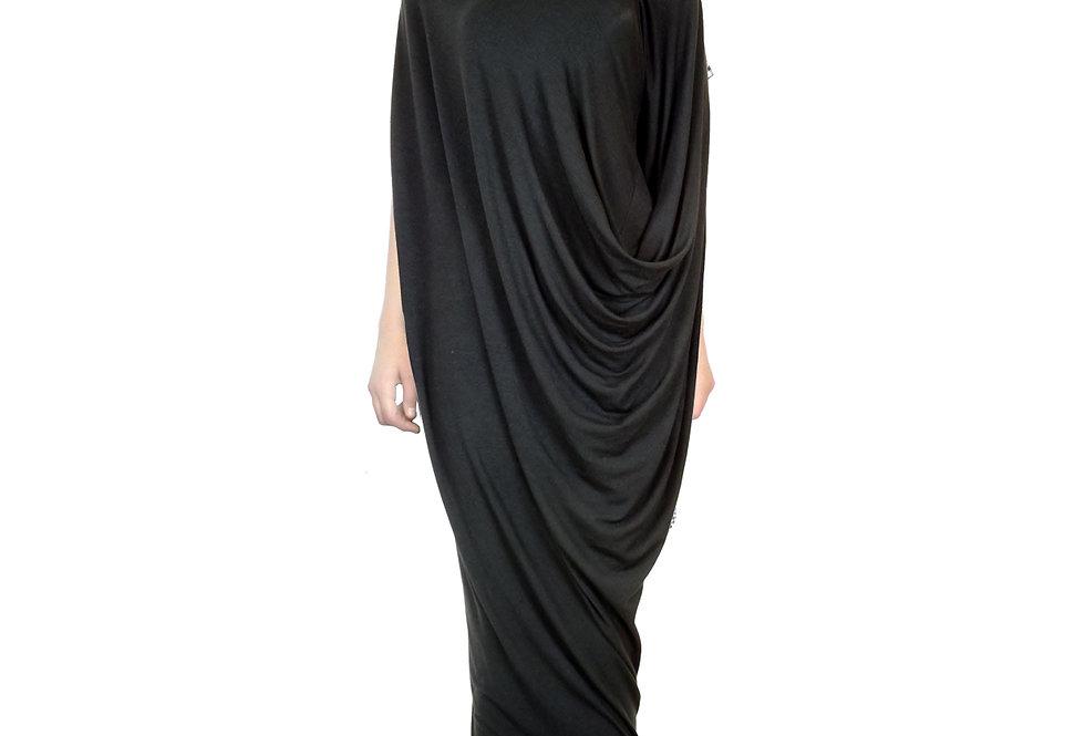 Black Drape Fluid Evening Wear Elegant Unique Original Silhouette Dress