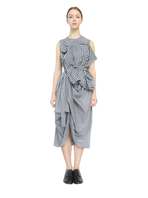 Womens Gingham Multi Check Designer Avantgarde Dress