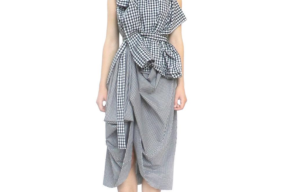 Womens Gingham Multi Check Designer Avantgarde Dress