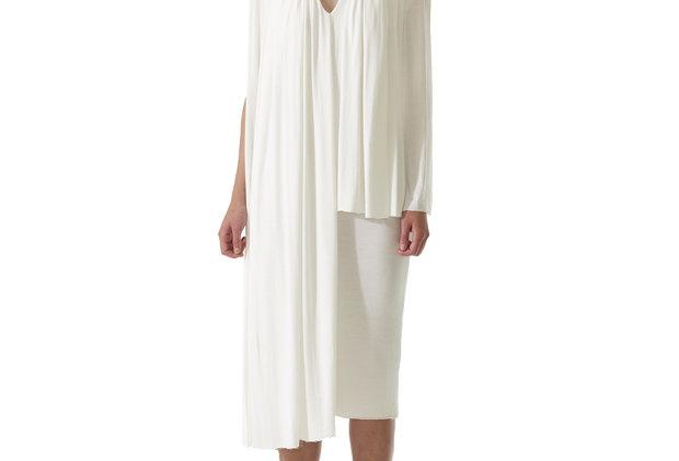 White Dress Front View Drapery Elegant Fashion Stylish Timeless Design Garment