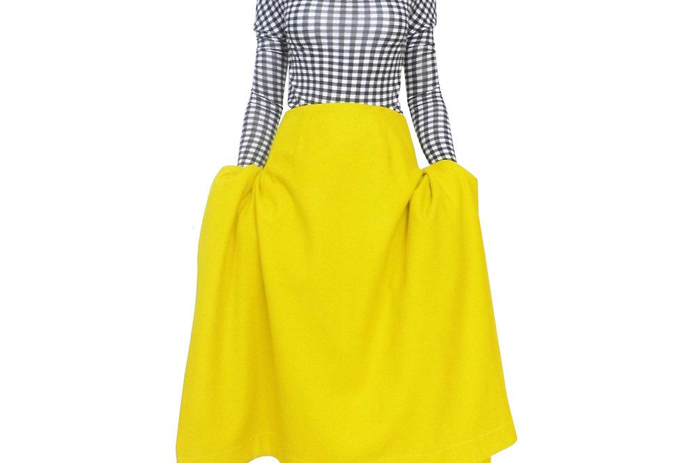 Womens Luxury Product Buy Shop Order Item Designer Bespoke Avantgarde Drape Wool Yeelo Skirt Front View