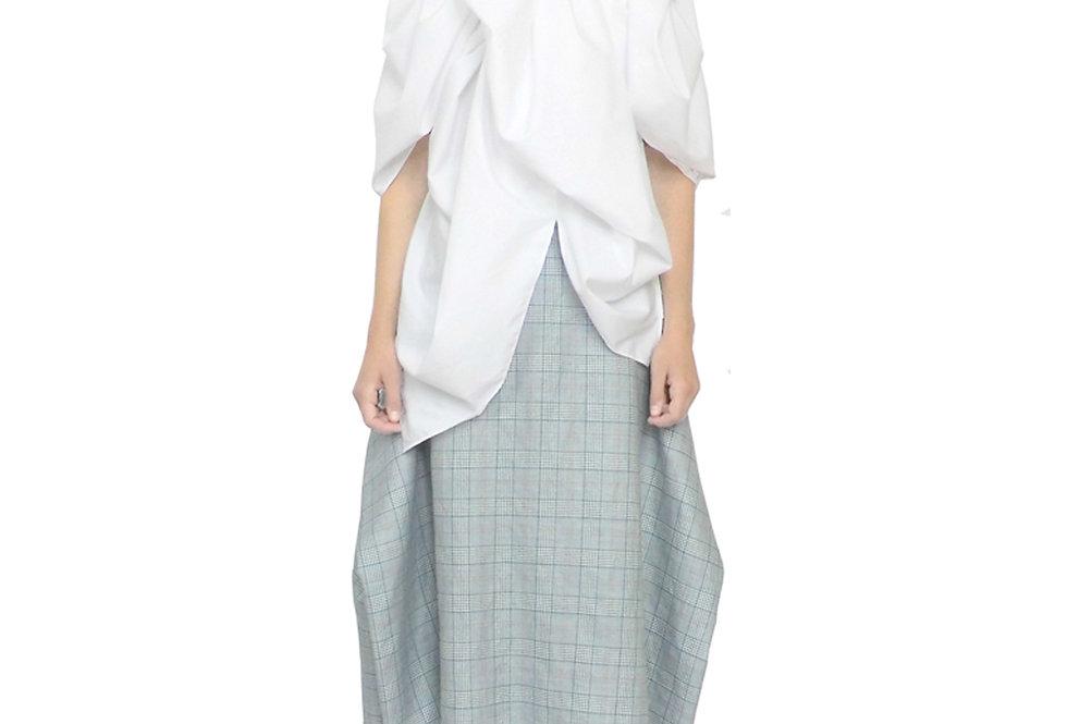 White Blouse Top Voluminous Front View Womenswear Clothes Designer Luxury Blouse Original Drape Sculptural Artisan Outfit