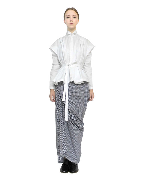 Womens Smart Creative Loose Folded Drape Origami Contemporary Bespoke Blouse