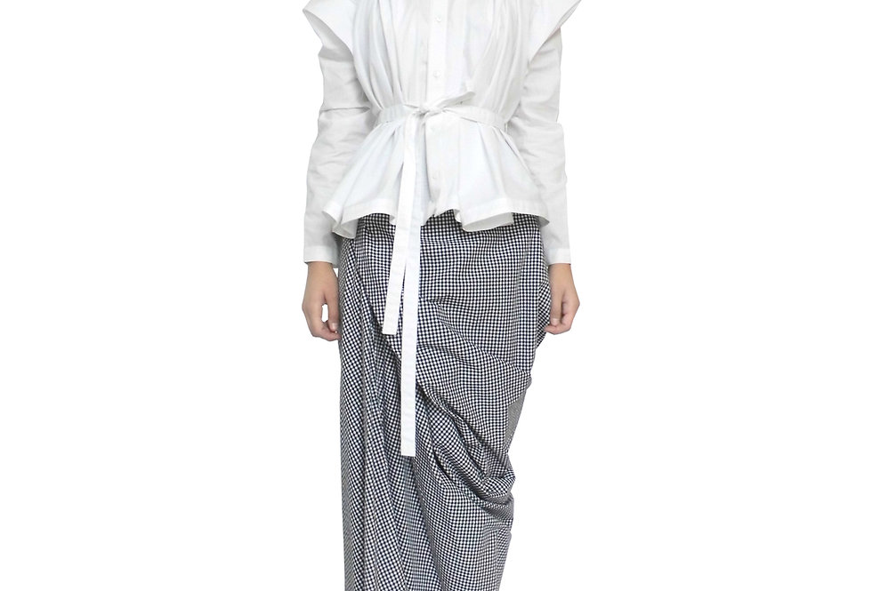 Womens Smart Creative Loose Folded Drape Origami Contemporary Bespoke Blouse