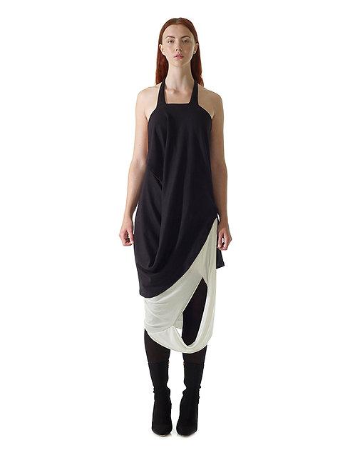 Black Top Front Drape Designer Fashion Clothes Womenswear Luxury Chic Stylish British