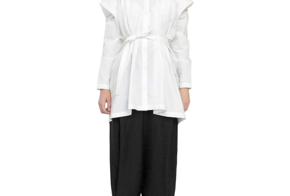 Retail Buy Shop White Cotton One Piece Long Sleeve Shirt Winged Collar Button Front View