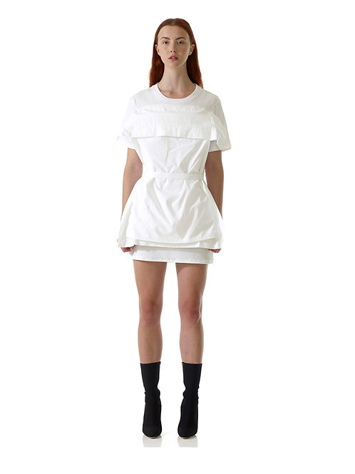 White Environmentally Friendly Green Eco Fashionable Luxury Cotton Dress Belt Mini Tshirt