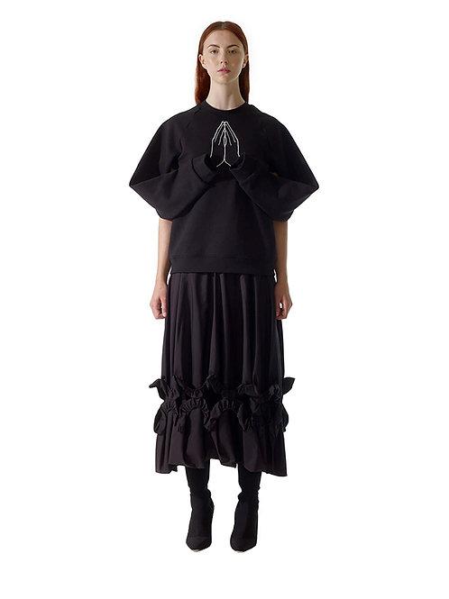 Black Jumper Sweater Cunnington & Sanderson Front Drape Womenswear Avantgarde clothes Designer