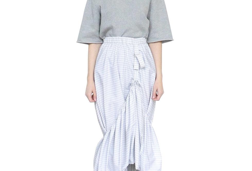 Gray Skirt Front View Drape Elegant Cotton Unique Style Designer Fashion Womenswear Buy Product Shop