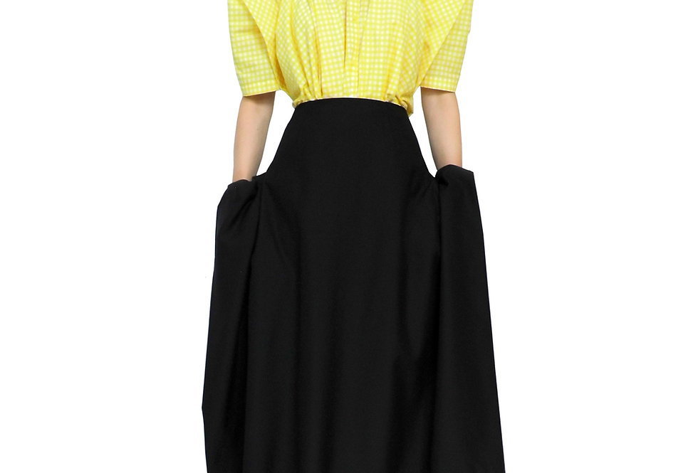 Look Want Womens Designer Drape Hidden Pocket Black Skirt Front View