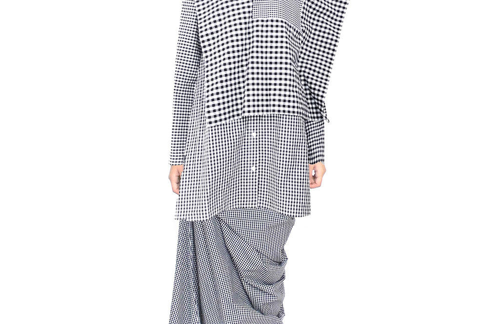 Pattern Blouse Shirt Top Outfit Ladies Unique Designer New Chic Elegant Modern Shirt Front View