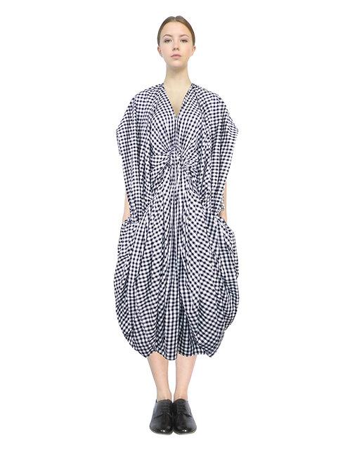Black White Cotton Shirt Check Voluminous Feminine Elegant Avantgarde Chich Dress Outfit