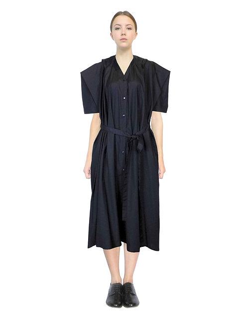 Black Shirt Dress Front Sculptural Designer Drape Daywear Product Unique Original Stylish Bespoke